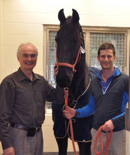 Dr. Freeman, Dr. Dymock, and Watse the Friesian