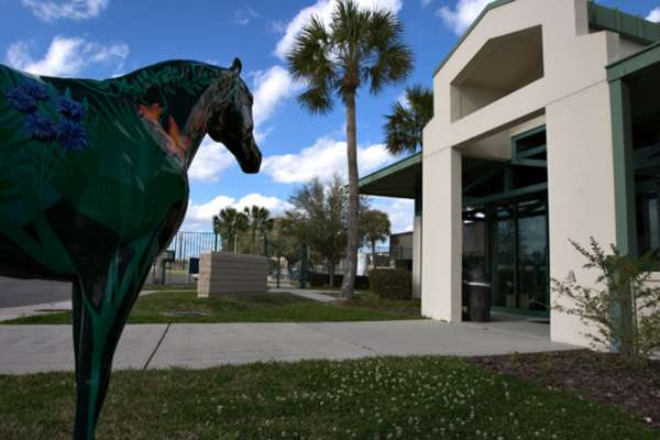 Horse statue in front of the Large Animal Hospital